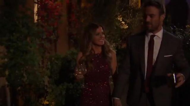 Mac Duggal 4265d Gown in Garnet outfit worn by JoJo Fletcher in The Bachelorette (S12E02) - TV Show Outfits and Products