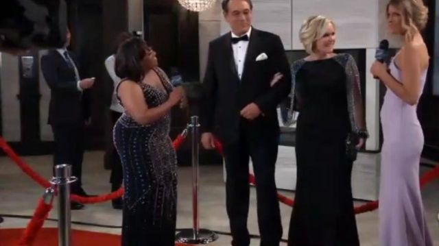 Mac Duggal Chain Sleeve Column Gown outfit worn by Maura West as seen in General Hospital May 17, 2019 - TV Show Outfits and Products