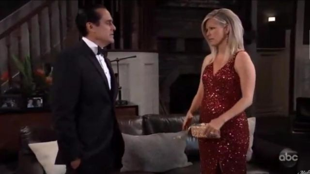 Mac Duggal Sequin V Neck Sleeveless Gown outfit worn by Carly Jacks (Laura Wright) as seen in General Hospital May 17, 2019 - TV Show Outfits and Products