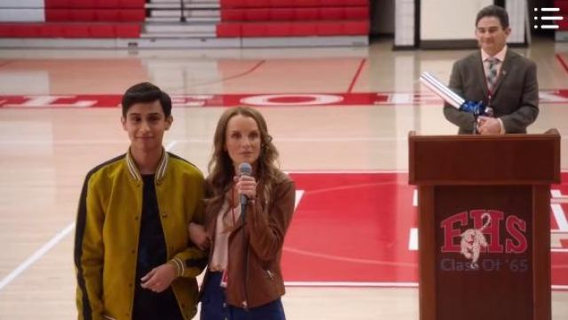 Madewell Brown Leather Moto Jacket outfit worn by Miss Jenn (Kate Reinders) in High School Musical: The Musical: The Series Season01 Episode01 - TV Show Outfits and Products