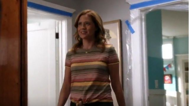 Fashion Trends 2021: Madewell Texture & Thread Modern Tie-Front Top outfit seen on Lena (Jenna Fischer) in Splitting Up Together (S02E05)