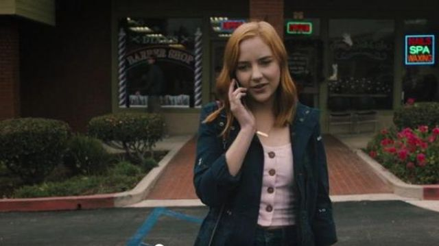 Madewell navy floral embroidered jacket outfit worn by Violet Simmons (Haley Ramm) in Light as a Feather Season 02 Episode 09 - TV Show Outfits and Products
