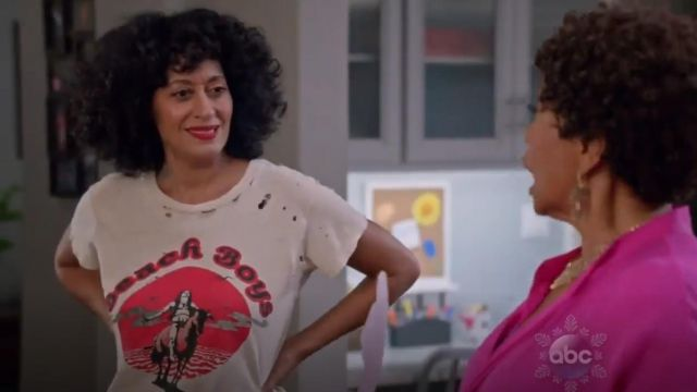 Madeworn Beach Boys T shirt outfit worn by Rainbow Johnson (Tracee Ellis Ross) in black-ish (S02E08) - TV Show Outfits and Products