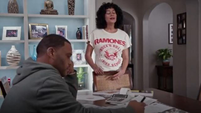 Madeworn Ramones 1979 Crew Tee outfit worn by Rainbow Johnson (Tracee Ellis Ross) in black-ish (S02E13) - TV Show Outfits and Products