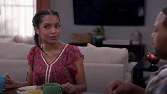 Maison Jules Crochet Trim Printed Flutter Sleeve Top outfit worn by Zoey Johnson (Yara Shahidi) in black-ish (S02E24) - TV Show Outfits and Products