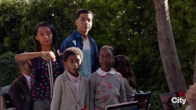 Maison Jules Sheer Heart Print Blouse outfit worn by Zoey Johnson (Yara Shahidi) in black-ish (S02E12) - TV Show Outfits and Products
