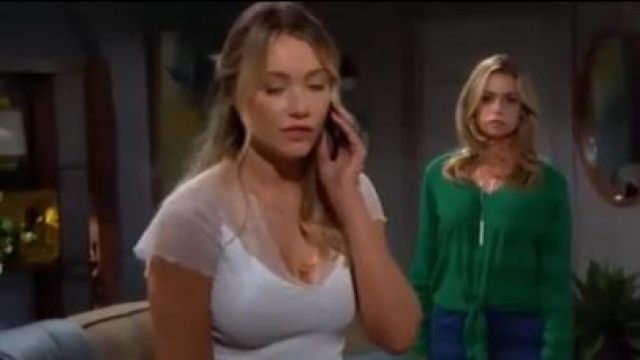 Maje Lilio Top outfit worn by Florence (Katrina Bowden) in The Bold and the Beautiful October 9, 2019 - TV Show Outfits and Products