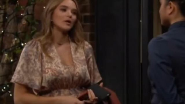 Maje Rachel Dress outfit worn by Summer Newman (Hunter King) in The Young and the Restless October 4, 2019 - TV Show Outfits and Products