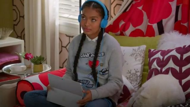 Maje Tilda Sweatshirt outfit worn by Zoey Johnson (Yara Shahidi) in black-ish (Season 03 Episode 10) - TV Show Outfits and Products