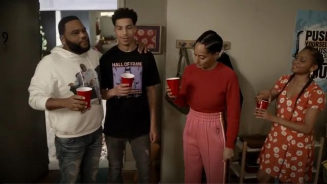 Marc Jacobs 3/4 Length Track Pants outfit worn by Rainbow Johnson (Tracee Ellis Ross) in black-ish (S05E23) - TV Show Outfits and Products