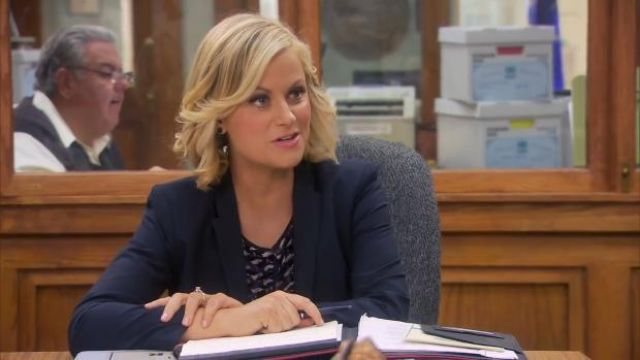 Marc Jacobs Puzzle Print Tank Top by Marc outfit worn by Leslie Knope (Amy Poehler) in Parks and Recreation (S06E04) - TV Show Outfits and Products