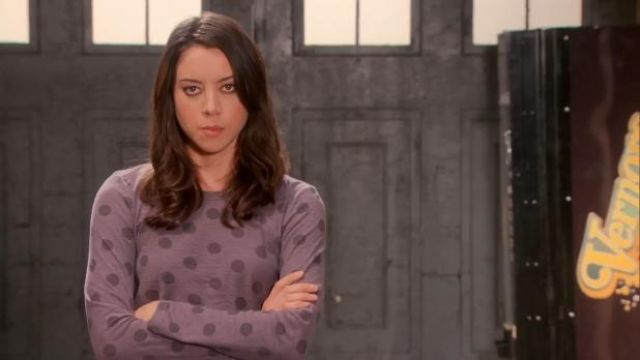 Marc by Marc Jacobs Clara dot tee outfit worn by April Ludgate (Aubrey Plaza) in Parks and Recreation (S05E19) - TV Show Outfits and Products