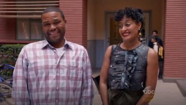 Marc by Marc Jacobs Stargazer Voile Top outfit worn by Rainbow Johnson (Tracee Ellis Ross) in black-ish (S02E05) - TV Show Outfits and Products