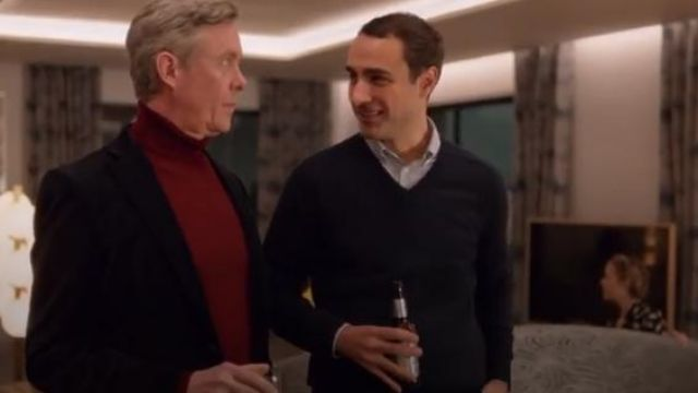 Marks and Spencer Navy Blue Extra Fine Lambswool V-Neck Jumper outfit worn by Marcus (Jamie Demetriou) in Four Weddings and a Funeral Season 1 Episode 8 - TV Show Outfits and Products