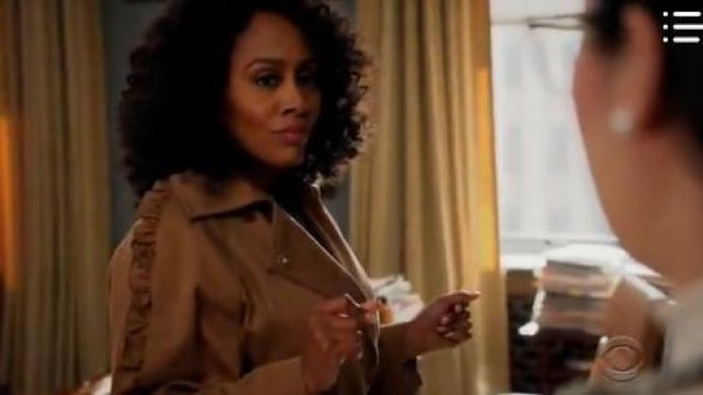 Max Mara Ruffle Trench Coat outfit worn by Lola Carmichael (Simone Missick) in All Rise Season01 Episode08 - TV Show Outfits and Products