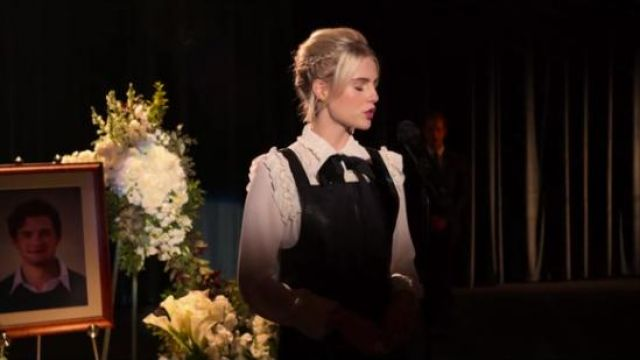 Max Studio White London Ruffled Tie-Neck Top outfit worn by Astrid (Lucy Boynton) in The Politician Season 1 Episode 1 - TV Show Outfits and Products