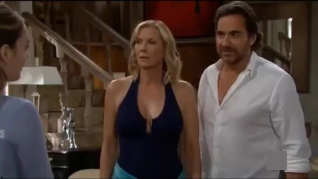 Melissa Odabash Tampa Bar Halter One-Piece Swimsuit outfit worn by Brooke Logan (Katherine Kelly Lang) as seen on The Bold and the Beautiful July 4