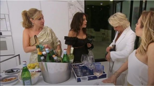 Melissa Odabash metallic mini one shoulder dress. outfit worn by Herself (Sonja Morgan) in The Real Housewives of New York City (S11E15) - TV Show Outfits and Products
