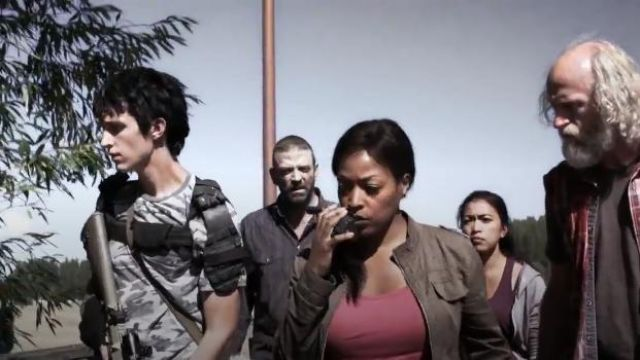 Men's Camo Pocket T-Shirt in the color Grey outfit worn by 10K (Nat Zang) in Z Nation (Season 01 Episode 12) - TV Show Outfits and Products