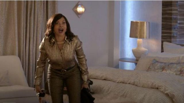 Michael Kors Brown Metallic Pants outfit worn by Cookie Lyon (Taraji P. Henson) in Empire Season 06 Episode 06 - TV Show Outfits and Products