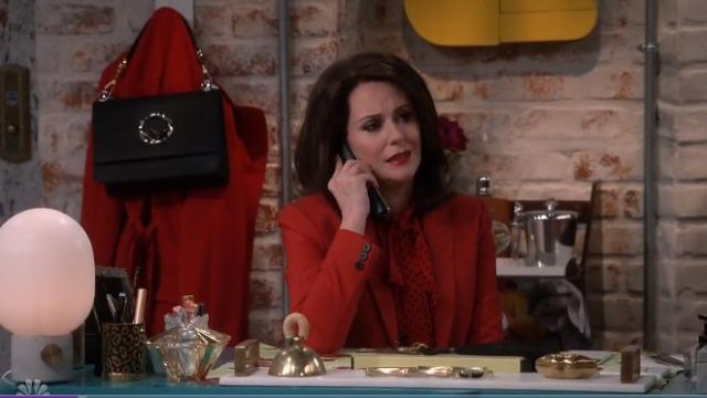 Michael Kors Collection Pussy-bow polka-dot silk-georgette blouse outfit worn by Karen Walker (Megan Mullally) in Will & Grace (S02E12) - TV Show Outfits and Products