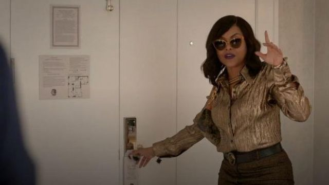Michael Kors Curshed Metallic Silk Blend Button Down Shirt outfit worn by Cookie Lyon (Taraji P. Henson) in Empire Season 06 Episode 06 - TV Show Outfits and Products