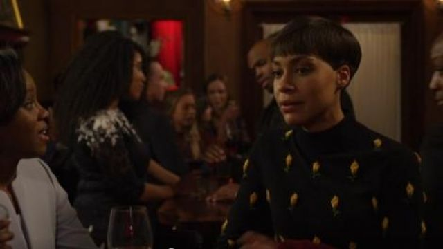 Michael Kors Rose-Embroidered Cropped Sweater outfit worn by Lucca Quinn (Cush Jumbo) in The Good Fight (S03E10) - TV Show Outfits and Products