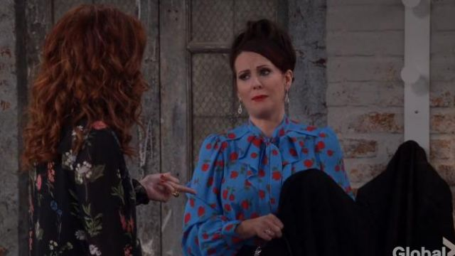 Michael Kors Tie-Neck Scattered Rose-Print Silk Georgette Blouse outfit worn by Karen Walker (Megan Mullally) in Will & Grace (S02E09) - TV Show Outfits and Products