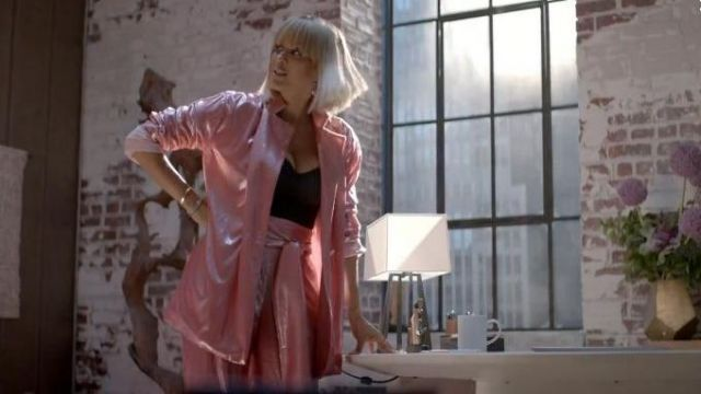 Michael Lo Sordo Pink Metallic Trousers outfit worn by Giselle (Nicole Ari Parker) in Empire Season 06 Episode 05 - TV Show Outfits and Products