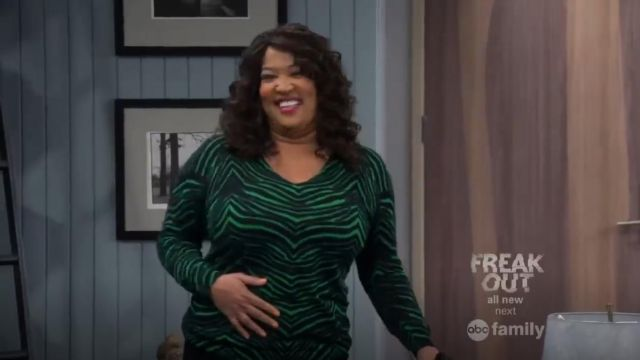 Michael Michael Kors Zebra Print V Neck Sweater outfit worn by Yolanda (Kym Whitley) in Young & Hungry (S02E02) - TV Show Outfits and Products