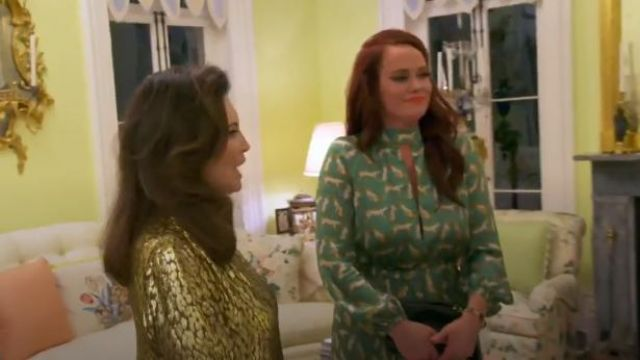 Milly Silk Cheetah-Print Mockneck Maxi Dress outfit worn by Kathryn Dennis in Southern Charm (S06E01) - TV Show Outfits and Products