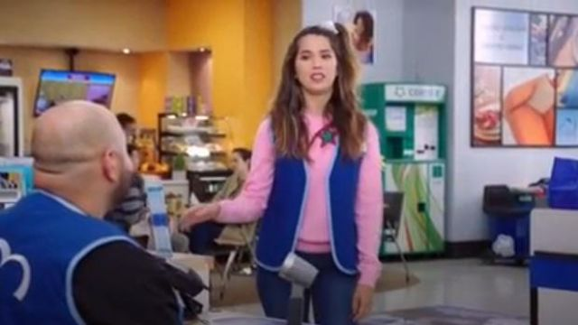 Mira Mikati Pink Patched Star Sweater outfit worn by Cheyenne (Nichole Bloom) in Superstore Season 5 Episode 8 - TV Show Outfits and Products