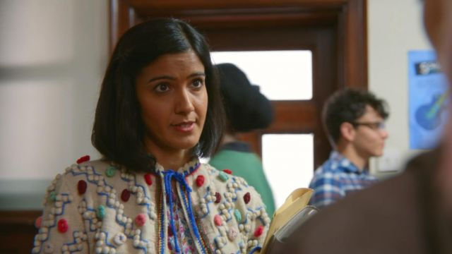 Fashion Trends 2021: Miss Sands' (Rakhee Thakrar) top with wool pom poms as seen in Sex Education S01E03