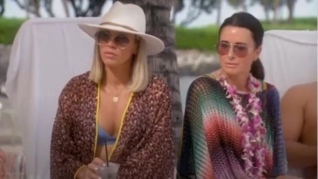 Missoni Mare Short Zig-Zag Stripe Poncho outfit worn by Kyle Richards in The Real Housewives of Beverly Hills (S09E15) - TV Show Outfits and Products