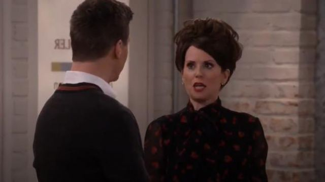 Miu Miu Strawberry & Cherry Print Tie-Neck Blouse outfit worn by Karen Walker (Megan Mullally) in Will & Grace (S01E13) - TV Show Outfits and Products