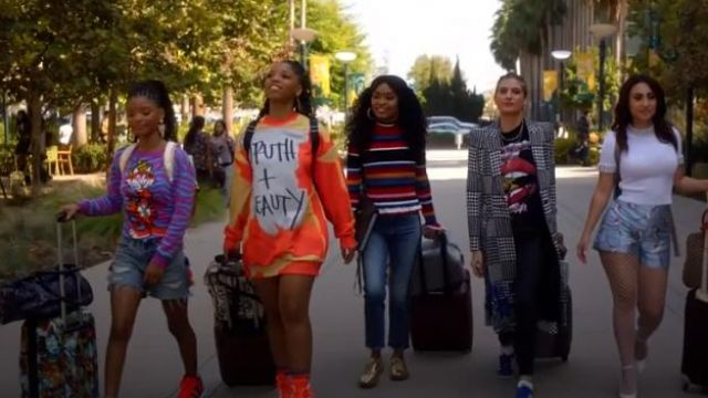 Moschino Crowned Tiger Intarsia Jumper outfit worn by Sky Forster (Halle Bailey) in grown-ish (S02E01)