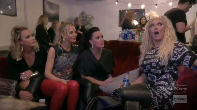 Moschino Safety Pin T shirt outfit worn by Erika Jayne in The Real Housewives of Beverly Hills (S09E14) - TV Show Outfits and Products