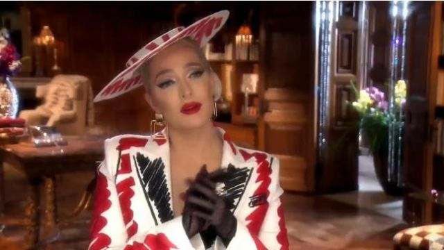 Moschino Tailored Crepe Jacket outfit worn by Erika Jayne in The Real Housewives of Beverly Hills (S09E19) - TV Show Outfits and Products