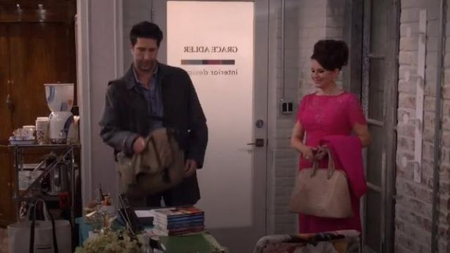 Nancy Gonzalez Crocodile Large Open Dome Tote Bag outfit worn by Karen Walker (Megan Mullally) in Will & Grace (S02E14) - TV Show Outfits and Products