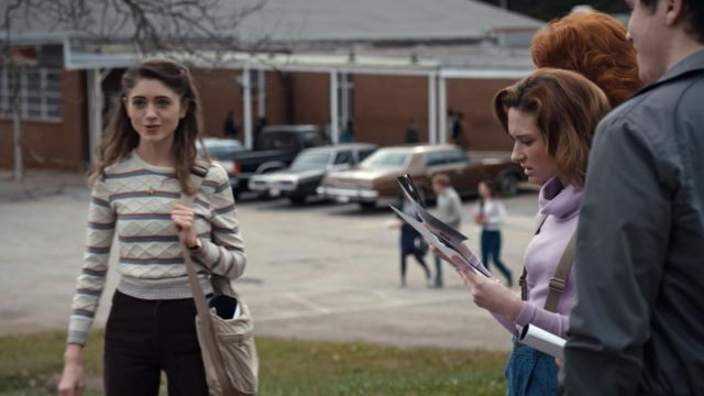Nancy pants of Nancy Wheeler Natalia Dyer in Stranger Things (S01E03) - TV Show Outfits and Products