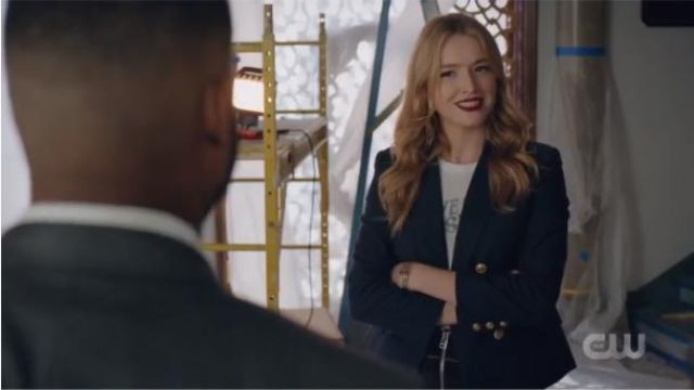 Navy Double-Breasted Blazer outfit worn by Kirby Anders (Maddison Brown) in Dynasty Season 3 Episode 4