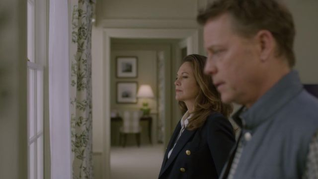 Navy blue blazer of Annette Shepherd (Diane Lane) seen in House of Cards Season 6 Episode 3 - TV Show Outfits and Products