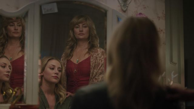 Necklace with crescent Brooklyn Designs 'Ophelia' outfit worn by Alice Cooper (Mädchen Amick) seen in Riverdale Season 3 Episode 3 - TV Show Outfits and Products