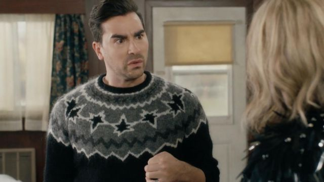 Neil Barrett Geometric Intarsia Sweater outfit worn by David Rose (Dan Levy) in Schitt's Creek (S03E01) - TV Show Outfits and Products