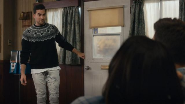 Neil Barrett Ribbed Knee Bleached Skinny Jeans outfit worn by David Rose (Dan Levy) in Schitt's Creek (S03E01) - TV Show Outfits and Products