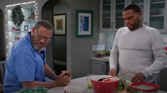 Neiman Marcus X Billy Reid Cashmere Striped Crewneck Sweater outfit worn by Andre 'Dre' Johnson (Anthony Anderson) in black-ish (S02E10) - TV Show Outfits and Products
