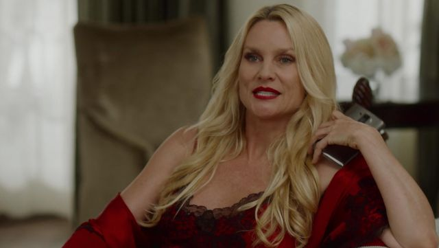 Nightie red Josie Natori outfit worn by Alexis Carrington (Nicollette Sheridan) seen in Dynasty Season 2 Episode 2 - TV Show Outfits and Products