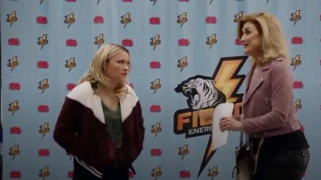 Nike burgundy and hite zip fleece fur bomber jacket outfit worn by Roxy Doyle (Emily Osment) in Almost Family Season 01 Episode 01 - TV Show Outfits and Products