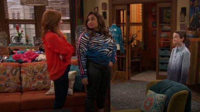 No Ka Oi Zebra-Print Cropped Sweatshirt outfit worn by Raven Baxter (Raven-Symoné) in Raven's Home Season 03 Episode 13 - TV Show Outfits and Products
