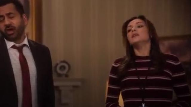 Nordstrom Signature Stripe Cashmere Sweater outfit worn by Emily Rhodes (Italia Ricci) in Designated Survivor (Season 03 Episode 06) - TV Show Outfits and Products